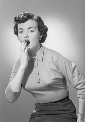 Studio Portrait Of Woman Yawning Art Print by George Marks