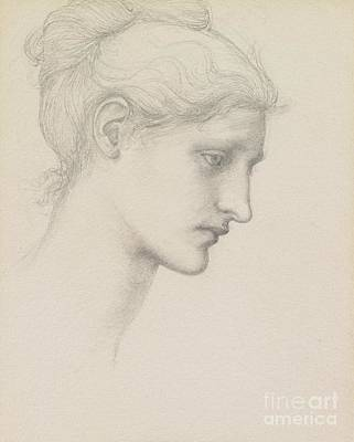 Girl Face Drawing - Study For Laus Veneria by Sir Edward Burne Jones