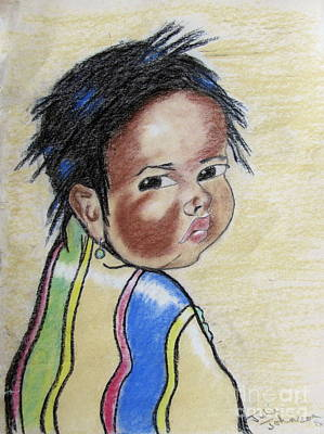 Study Of A Navajo Child  2 Art Print by Julie Coughlin