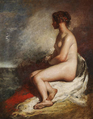 Sea Siren Painting - Study Of A Seated Nude by William Etty