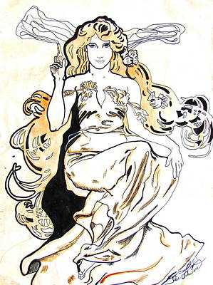 Mucha Drawing - Study Of Art Nouveau After Mucha by Julie Coughlin