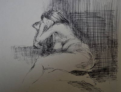 Drawing - Study Of Nude  by Lynn Hughes