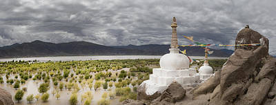 Tibetan Buddhism Photograph - Stupas And Small Shrines by Phil Borges
