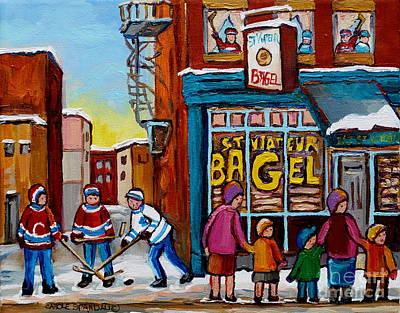 Street Hockey Photograph - St.viateur Bagel Montreal Street Scene With Hockey by Carole Spandau