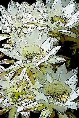 Stylized Cactus Flowers Art Print by Phyllis Denton