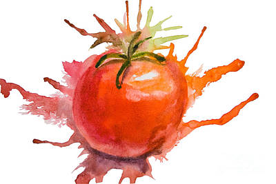 Tomatos Painting - Stylized Illustration Of Tomato by Regina Jershova