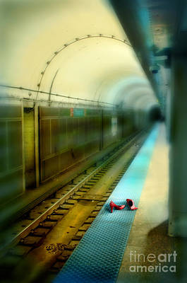 With Red. Photograph - Subway Station With Red Shoes by Jill Battaglia