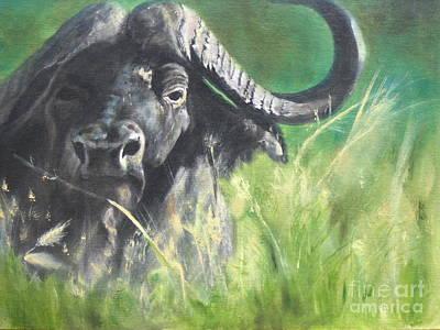 Cape Buffalo Painting - Sudden Arrival by John  Tukey