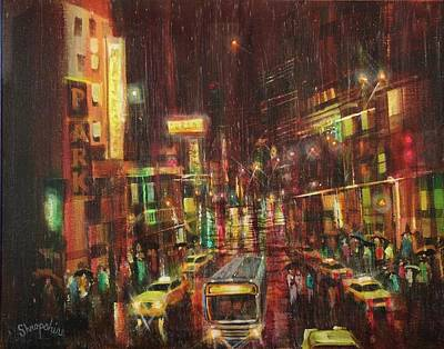 Rainy Night Painting - Sudden Downpour Opening Night by Tom Shropshire
