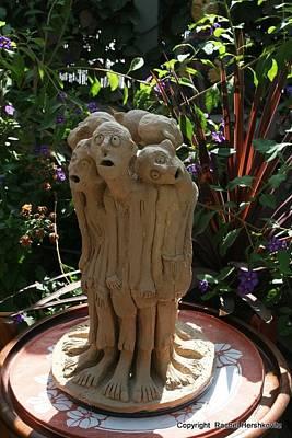 Owls - Suffering Circle ceramic sculpture brown clay  by Rachel Hershkovitz