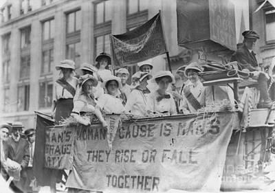 Suffragettes Riding A Float Art Print