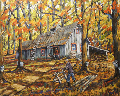 Walter Pranke Painting - Sugar Bush Fall Scene Sugar Shack By Prankearts by Richard T Pranke