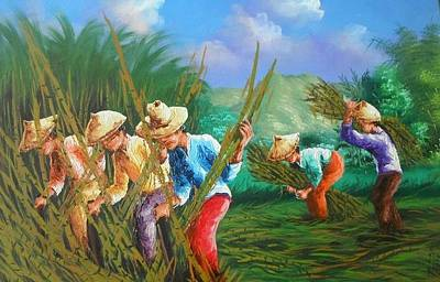 Painting - Sugar Cane Harvest by Pretchill Smith