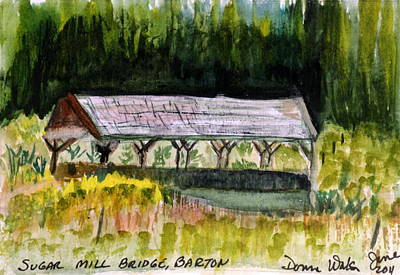 Covered Bridge Painting - Sugar Mill Covered Bridge In Barton Vt by Donna Walsh