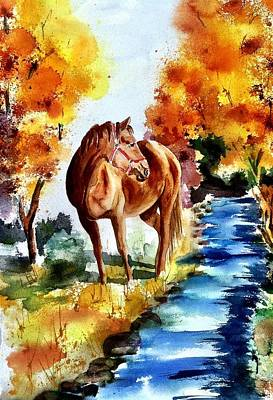 Horse In Autumn Painting - Sugar  by Sharon Mick
