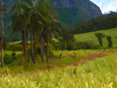 Mauritius Digital Art - Sugarcane And Cocopalms by Nop Briex