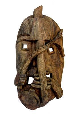 Jangarh Kalam Sculpture - Sukhv2 Bana Tribal Mask by Sukhnandi Vyam