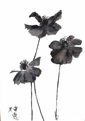 Painting - Sumi E Poppies by Sibby S