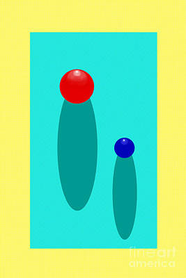 Digital Art - Summer Balls Red And Blue by Christopher Shellhammer