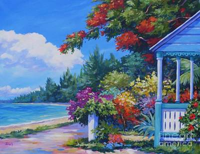 Caribbean Sea Painting - Summer Colours 20x16 by John Clark