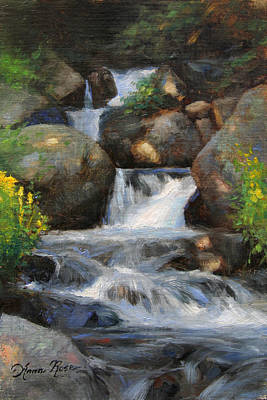 Mountain Stream Wall Art - Painting - Summer Falls by Anna Rose Bain