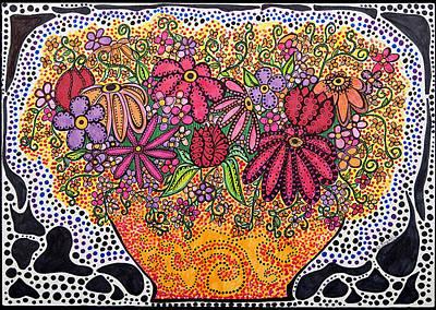 Mod Drawing - Summer Flowers by Gerri Rowan