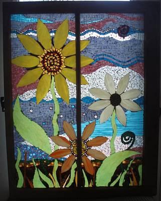 Glass Art - Summer Flowers by Liz Lowder