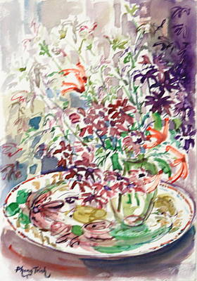 Phong Trinh Painting - Summer Flowers On A Plate by Phong Trinh