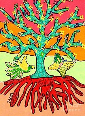Hamas Painting - Summer Flowers Tree Of Life by Sandra Silberzweig