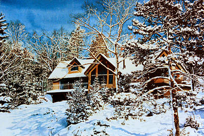 Of Our House Painting - Summer House Portrait In Winter by Hanne Lore Koehler