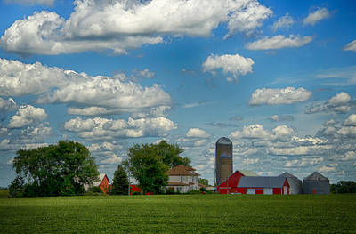 Summer Iowa Farm Art Print by Bill Tiepelman