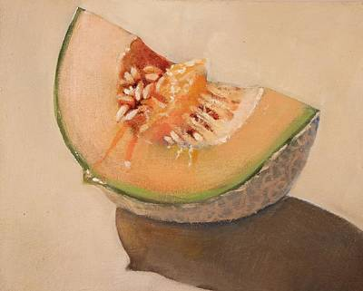 Cantaloupe Painting - Summer Melon Still Life by Walt Maes