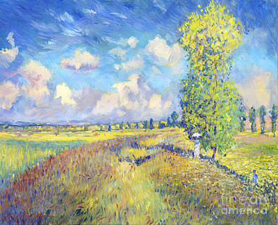 Summer Poppy Fields - Sur Les Traces De Monet Art Print by David Lloyd Glover