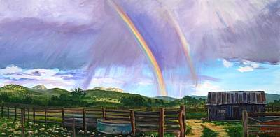 Old Home Place Painting - Summer Rain At The Ranch by Rita Lackey