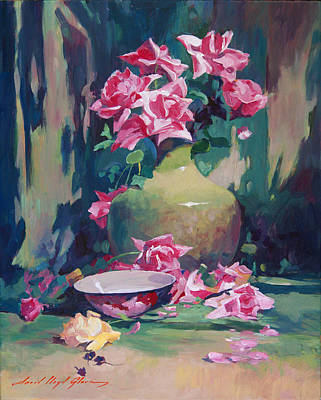Floral Arrangement Painting - Summer Rose Arrangement by David Lloyd Glover