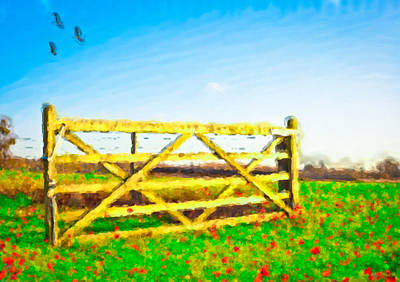 Gate Watercolor Photograph - Summer Scene by Tom Gowanlock