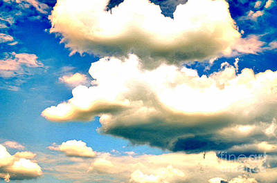 Summer Sky White And Threatening Clouds Against A Blue Sky Art Print