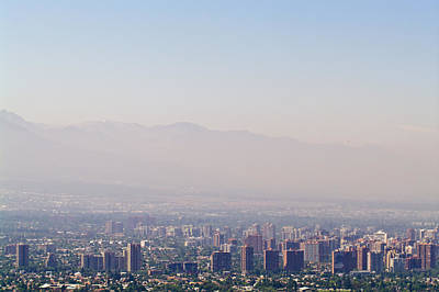 Summer Smog And Pollution In Santiagos Art Print