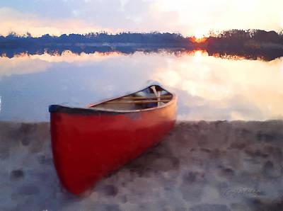 Canoe Digital Art - Summer Sunset by Geoff Strehlow