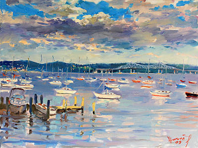 River Boat Painting - Sun And Clouds In Hudson by Ylli Haruni