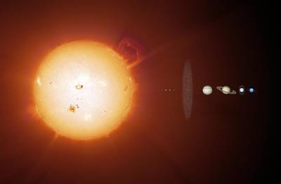 Sun And Planets, Size Comparison Art Print by Detlev Van Ravenswaay