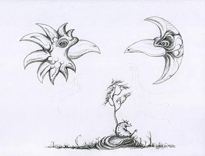 Toronto Artist Drawing - Sun Bird Moon Bird And A Seated Whargle by Mark Johnson