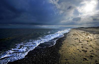 Coastguard Cottages Photograph - Sun Light On Dunwich Beach by Darren Burroughs