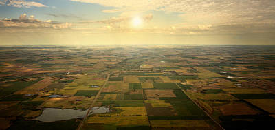 Arial Photograph - Sun On Horizon by Patrick Ziegler