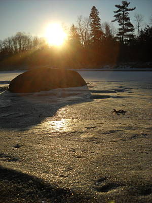 Photograph - Sun On Rock In Ice by Kent Lorentzen