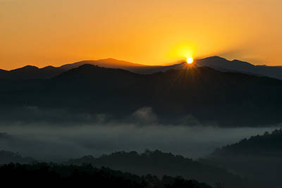Laura James Photograph - Sun Peeking Over The Moiuntains by Laura James
