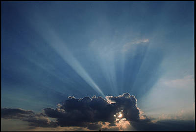 Sun Rays And Cumulus Cloud Art Print by Pekka Parviainen
