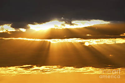 Sun Rays At Sunset Sky Print by Elena Elisseeva