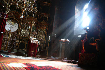 Romanian Icons Photograph - Sun Rays In Orthodox Church by Emanuel Tanjala