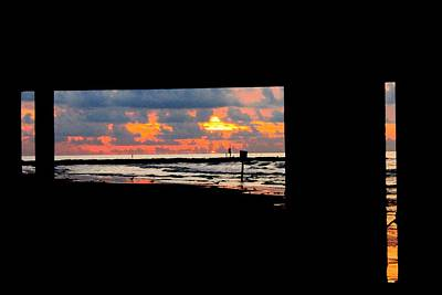 Sun Rise From Under The Pier Art Print by Mark Longtin